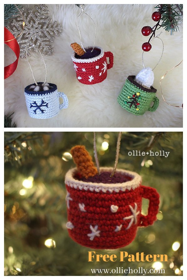 Hot Chocolate Mug Amigurumi Christmas Ornament Free Crochet Pattern