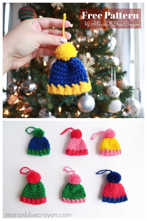 Mini Beanie Ornament Free Crochet Pattern