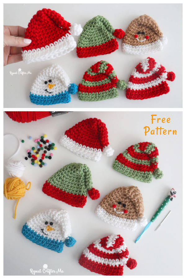 Mini Holiday Hats Free Crochet Pattern