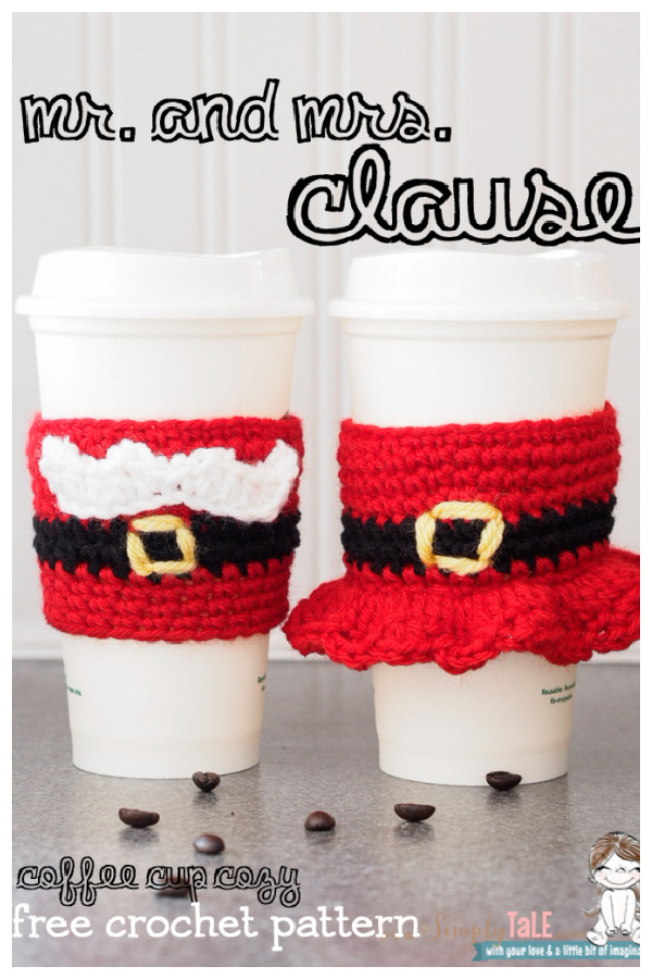 Mr and Mrs Santa Coffee Cup Cozies Free Crochet Pattern