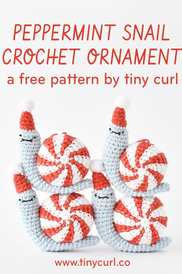 Peppermint Party Snail Christmas Ornament Free Crochet Pattern