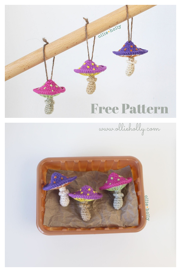 Poisonous Mushroom Ornament Free Crochet Pattern