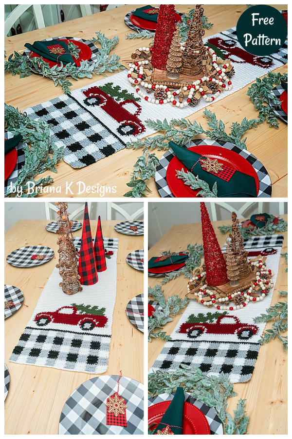 Red Christmas Truck Table Runner Free Crochet Pattern