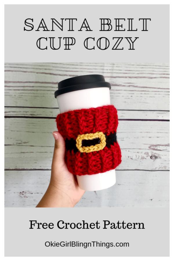 Santa Belt Cup Cozy Free Crochet Pattern