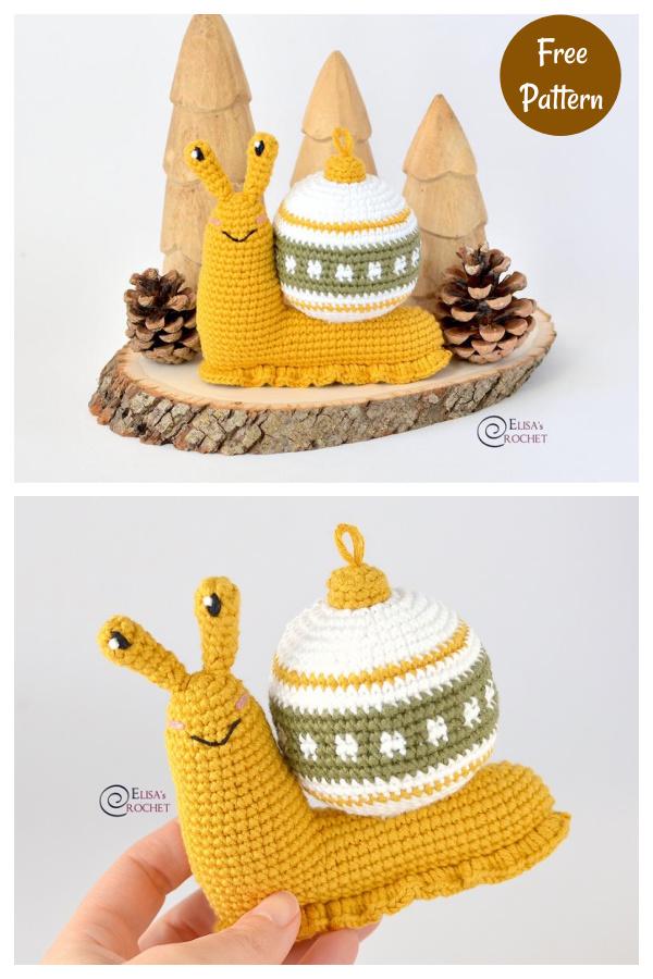 Snail Christmas Bauble Free Crochet Pattern