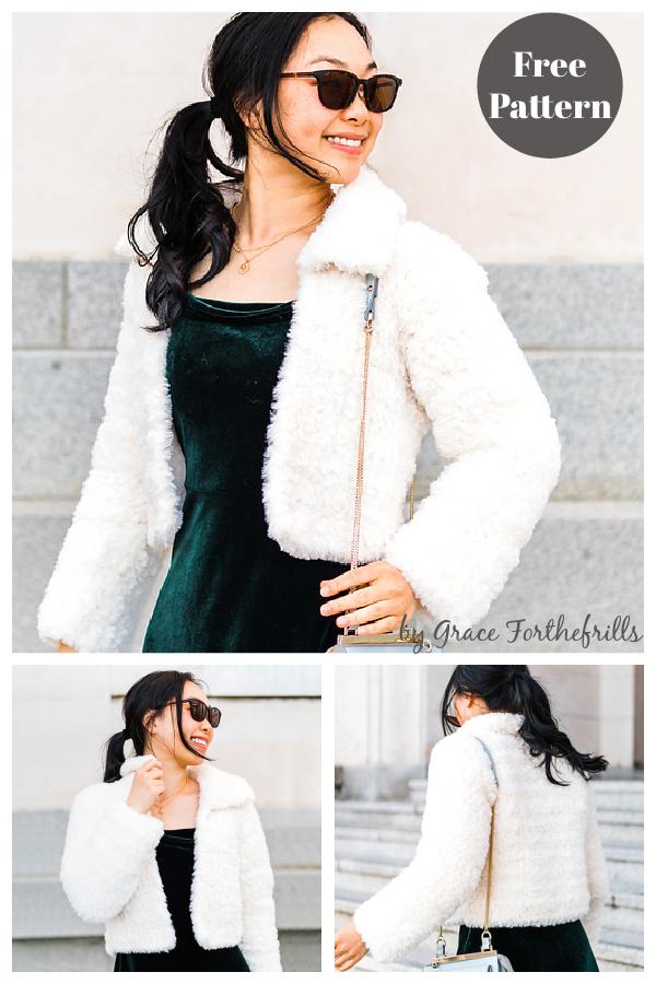 Snow Bloom Faux Fur Coat Free Crochet Pattern