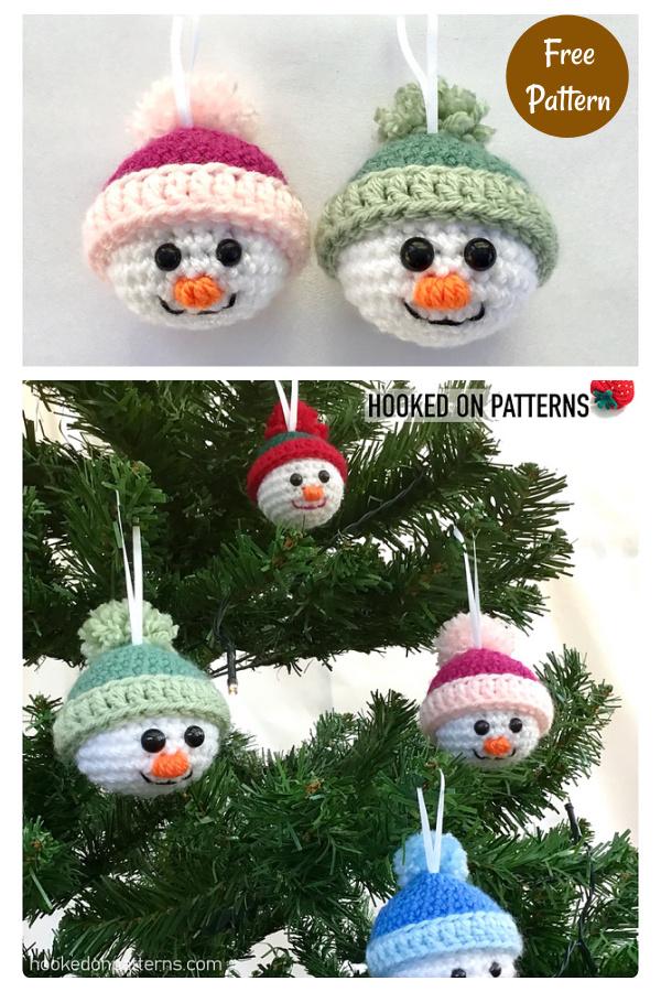 Snowman Christmas Baubles Free Crochet Pattern