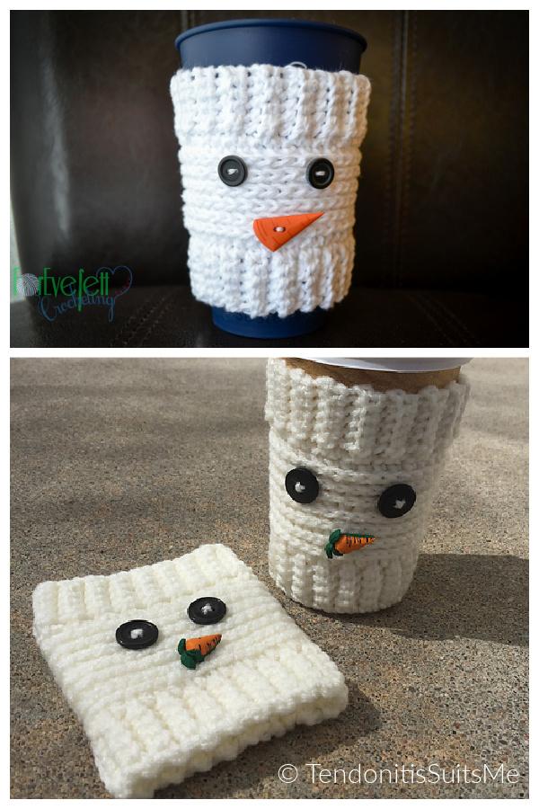 Snowman Cup Cozy Free Crochet Pattern