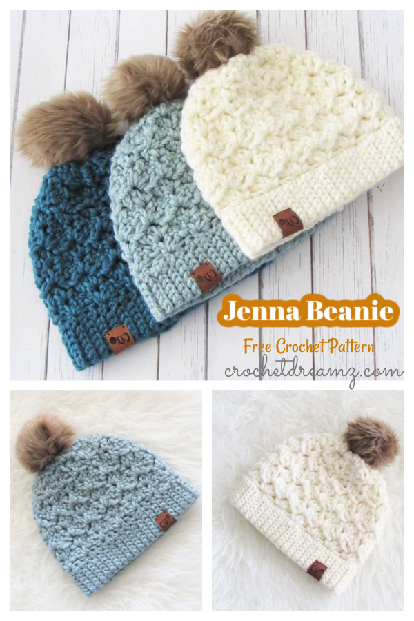 Stunningly Jenna Beanie Free Crochet Pattern for Beginner