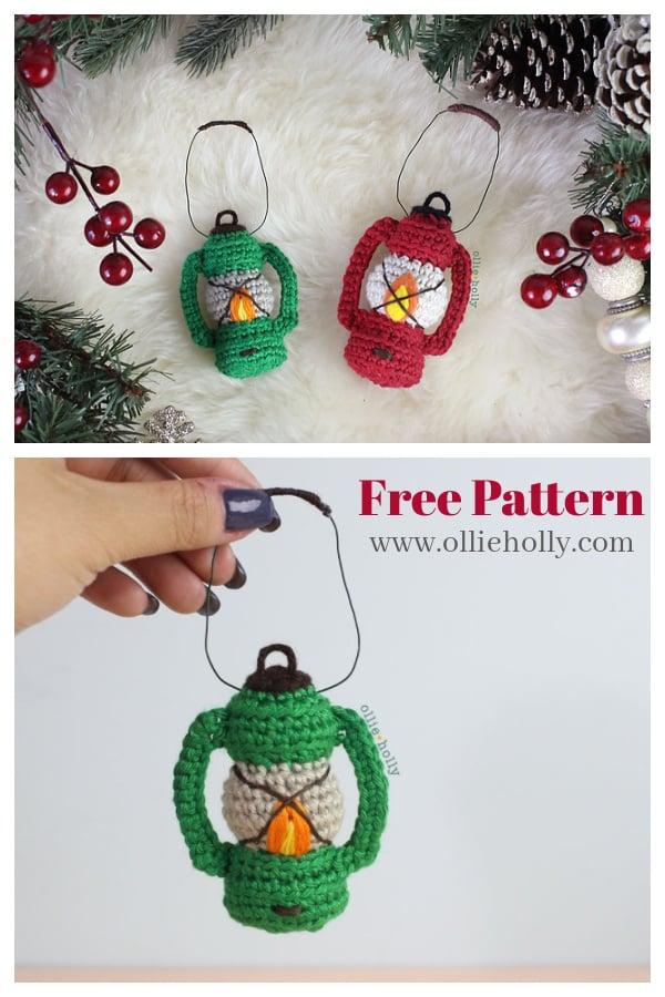 Vintage Camping Lantern Christmas Ornament Free Crochet Pattern