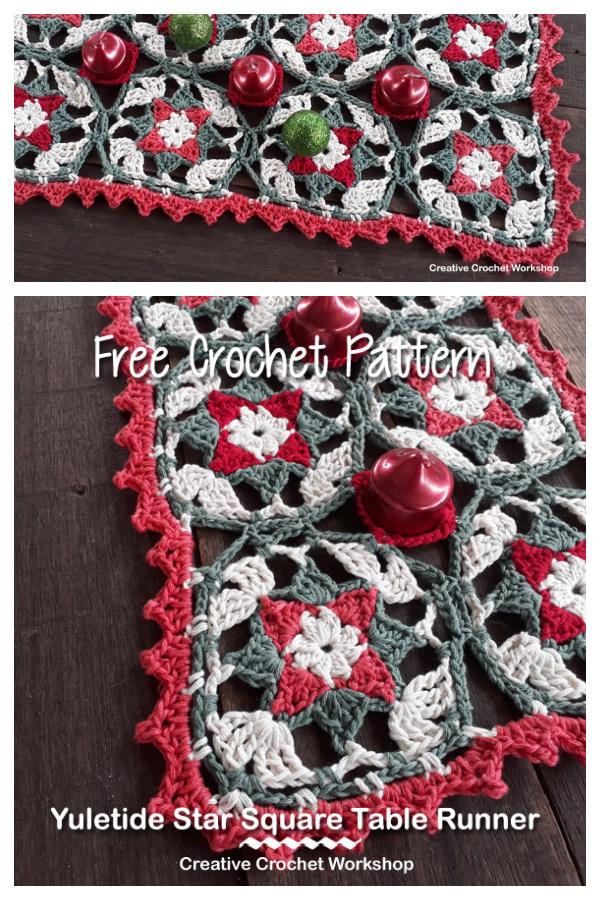 Yuletide Star Table Runner Free Crochet Pattern