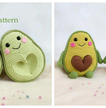 Amigurumi Avocado with Heart Seed Crochet Pattern