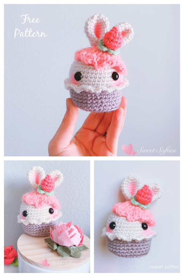 Bunny Rabbit Strawberry Cupcake Free Crochet Pattern