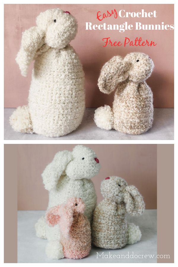Easy Crochet Rectangle Bunnies Free Pattern