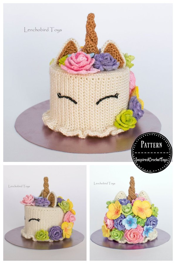Flower Unicorn Cake Amigurumi Crochet Pattern