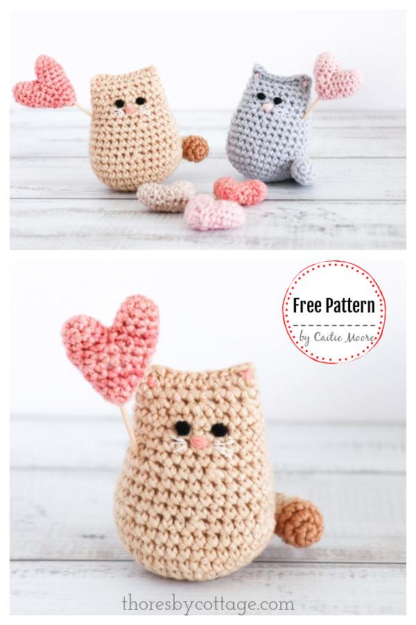 Itty bitty Valentine Kitty Free Crochet Pattern