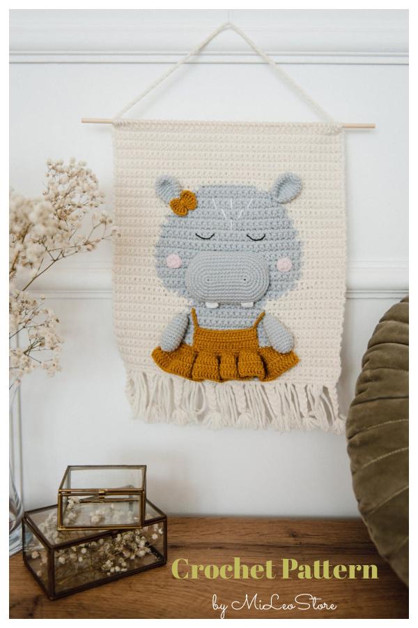 Nursery Hippo Wall Hanging Crochet Pattern