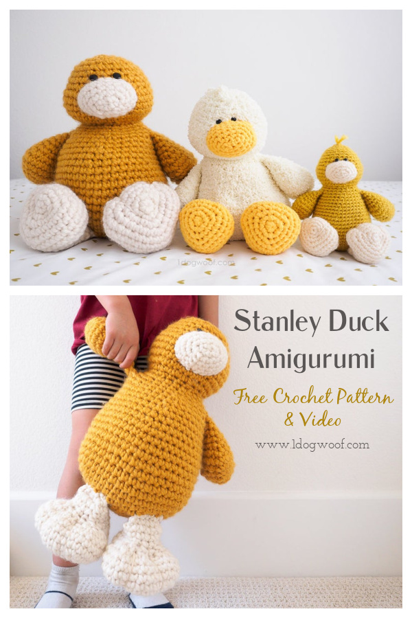 Stanley Duck Amigurumi Free Crochet Pattern and Video Tutorial