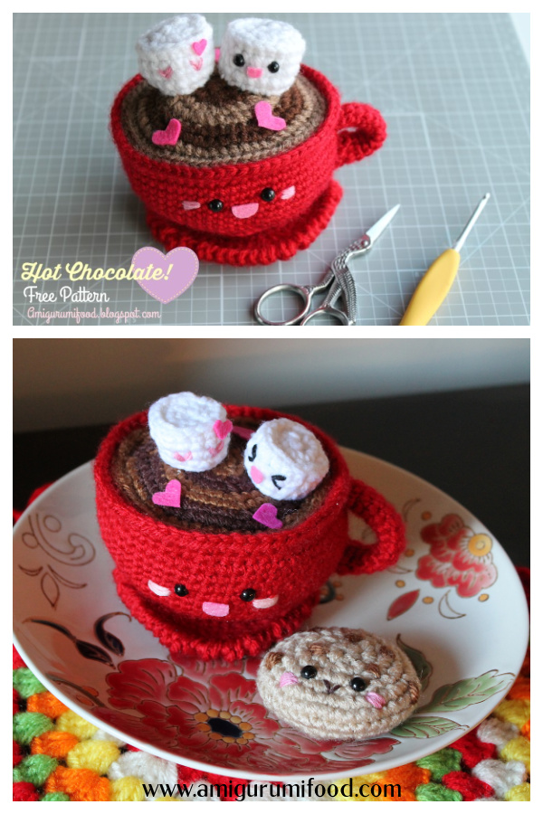 Valentine's Day Hot Chocolate Amigurumi Free Crochet Pattern