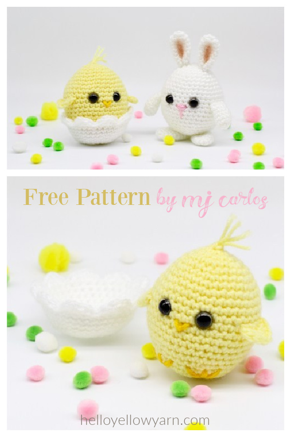 Baby Chick and Easter Egg Bunny Free Crochet Pattern