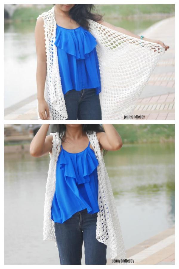 Cotton Lace Summer Waterfall Vest Free Crochet Pattern