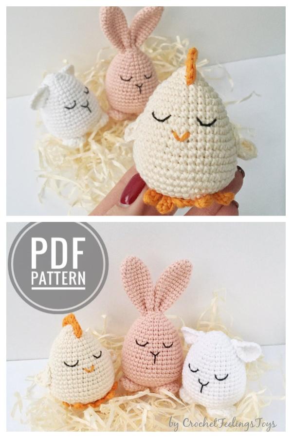 Easter Egg Crochet Pattern Chick Bunny Lamb