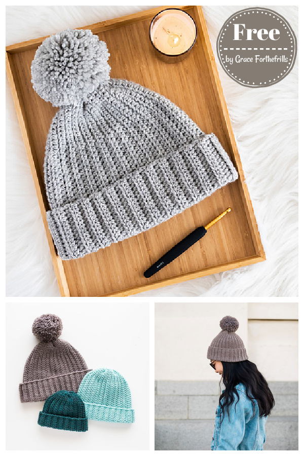 Easy Everyday Beanie Hat Free Crochet Pattern and Video Tutorial
