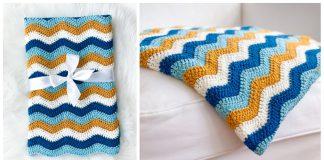 Easy Ripple Blanket Free Crochet Pattern