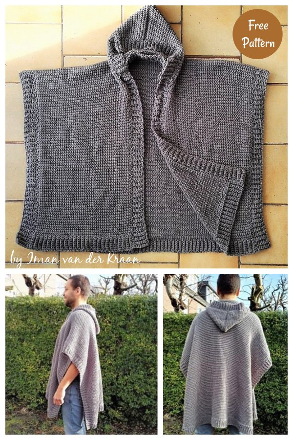 Mo Hooded Ruana Free Crochet Pattern