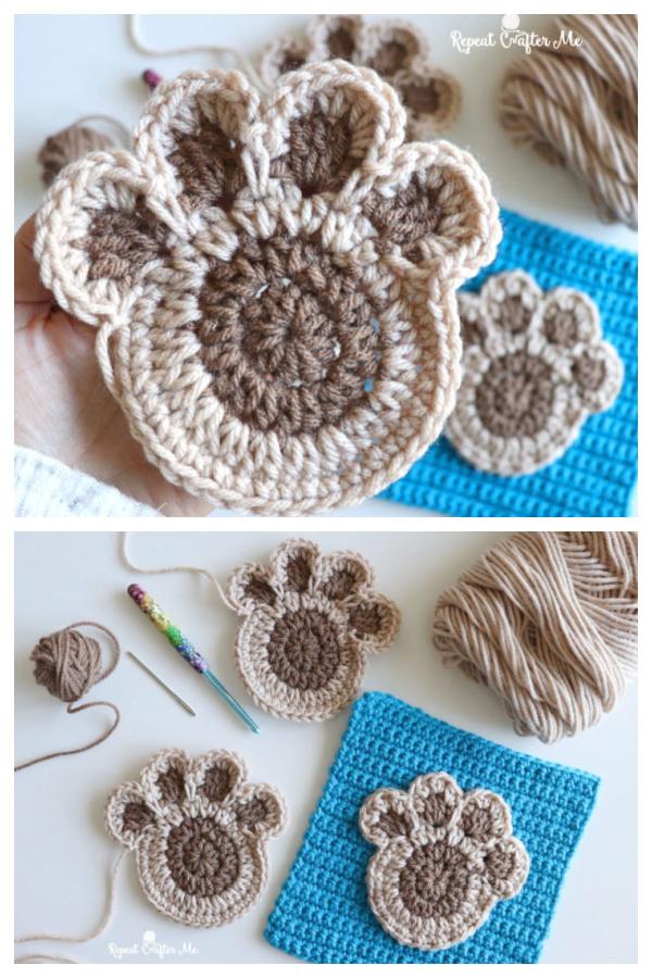 Paw Print Applique Free Crochet Pattern