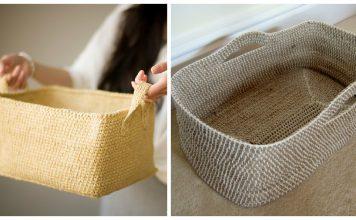 Rectangular Basket with Handles Free Crochet Pattern