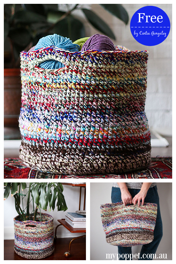 Scrap Yarn Basket Free Crochet Pattern