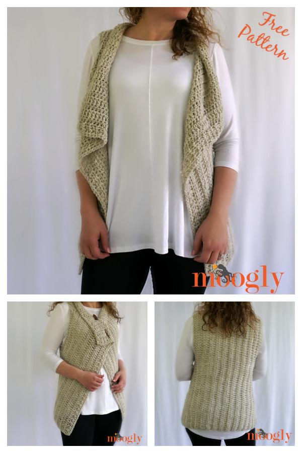 Simple Waterfall Vest Free Crochet Pattern