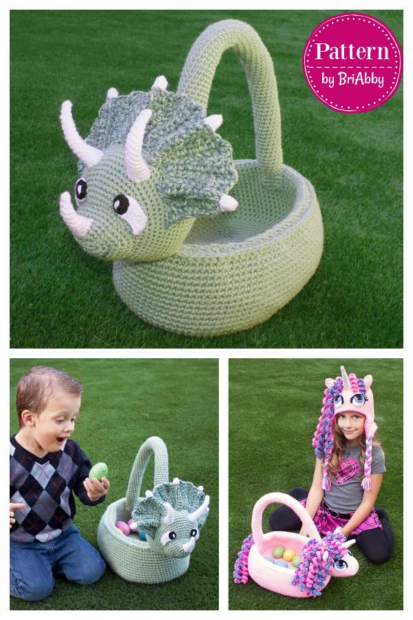 Amazing Easter Basket Crochet Patterns Triceratops Unicorn