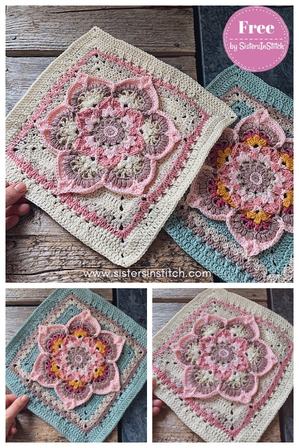 Blooming Lotus Square Free Crochet Pattern and Video Tutorial