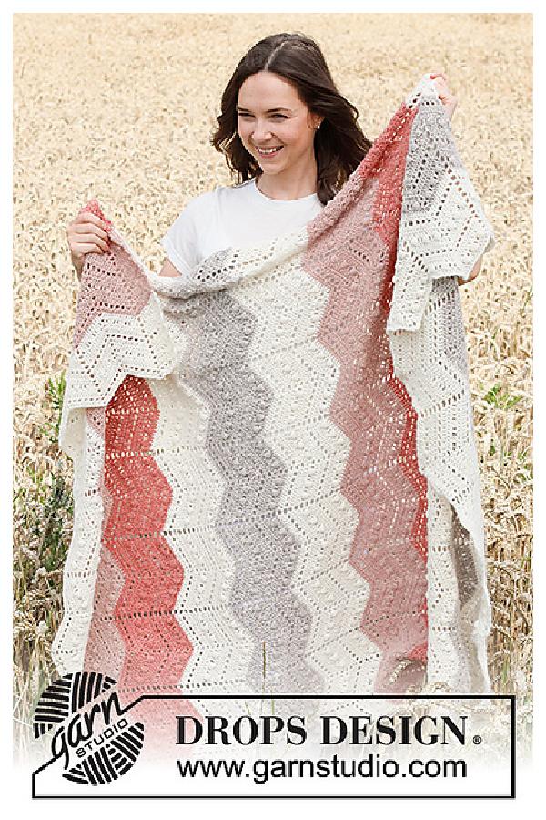 Bobble Chevron Blanket Free Crochet Pattern