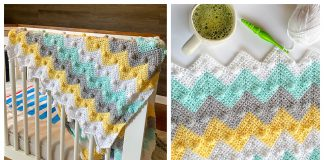 Bobble Chevron Blanket Free Crochet Pattern