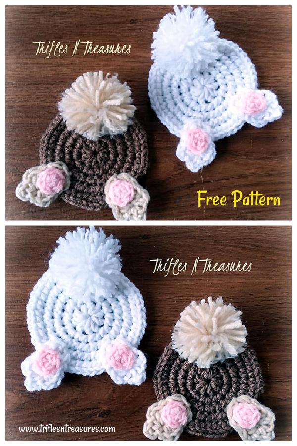 Bunny Butt Coasters Free Crochet Pattern