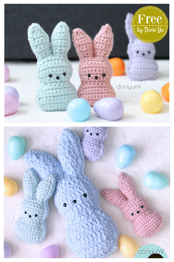 Chillin' with the Easter Bunny Peeps Free Crochet Pattern