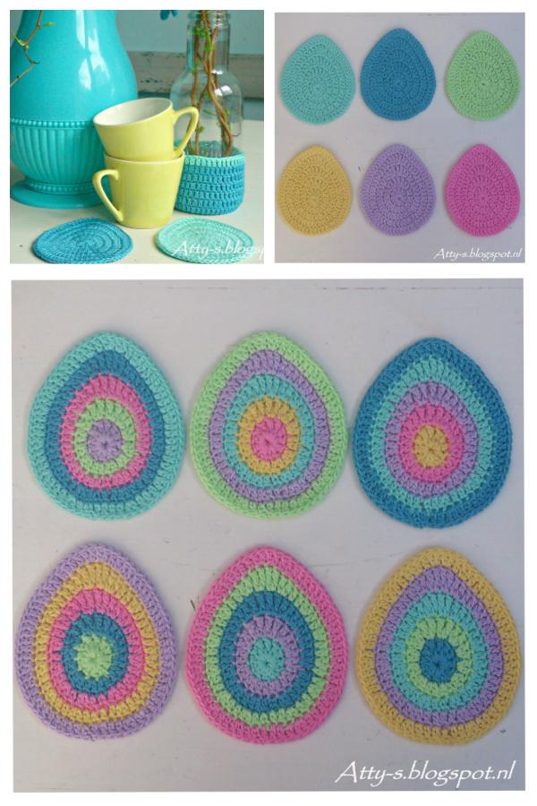 Easter Egg Coaster Free Crochet Pattern