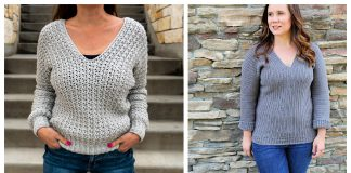 Easy Crochet V-Neck Sweater Free Patterns