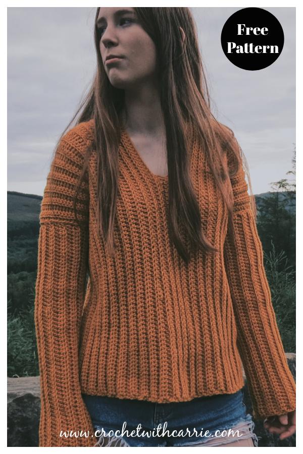 Easy V Neck Ribbed Sweater Free Crochet Pattern