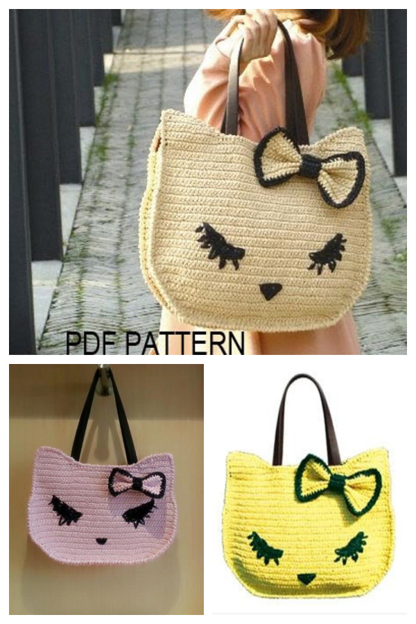 Kitty Cat Tote Bag Crochet Pattern