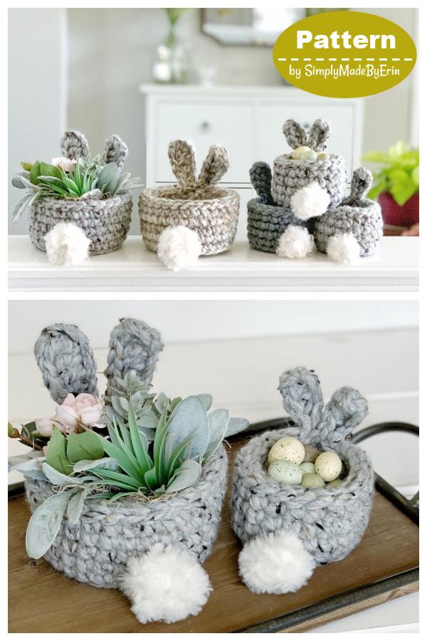 Mini Easter Bunny Basket Crochet Pattern