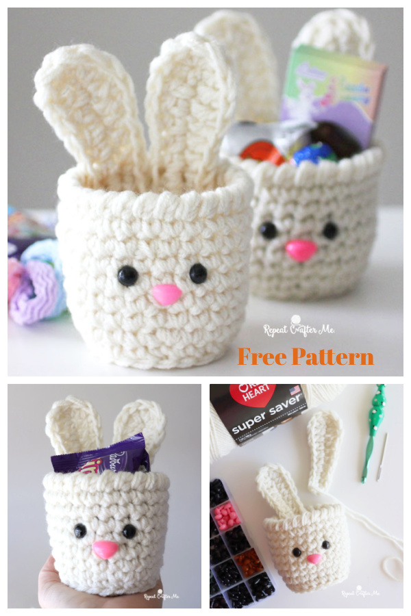 Mini Easter Bunny Basket Free Crochet Pattern and Video Tutorial