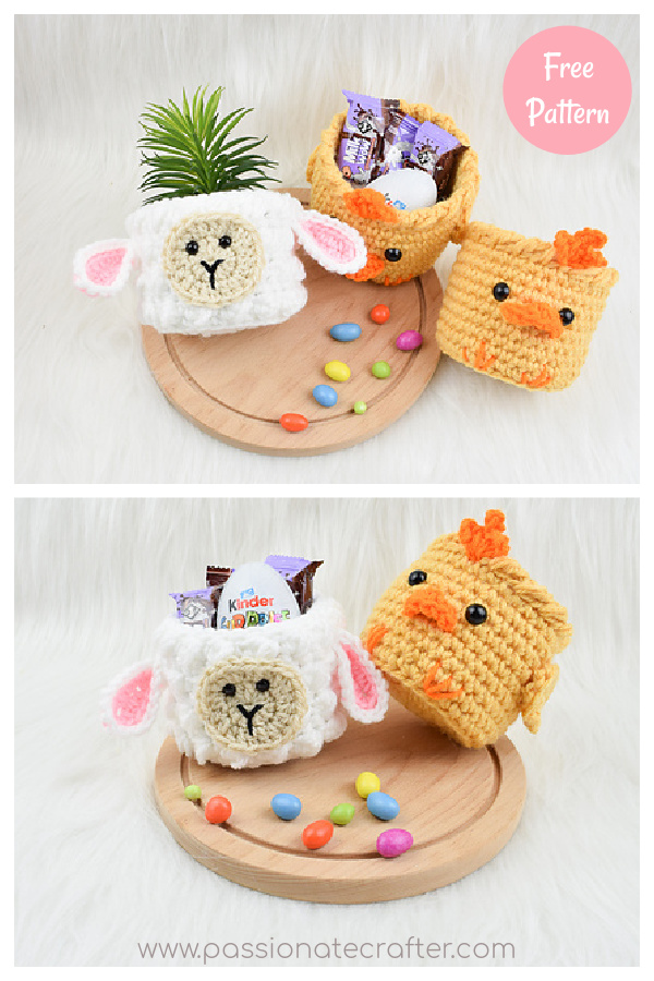 Mini Easter baskets Free Crochet Pattern