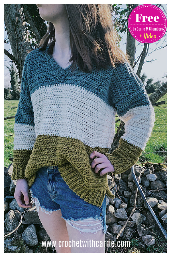 Oversized V Neck Sweater Free Crochet Pattern and Video Tutorial