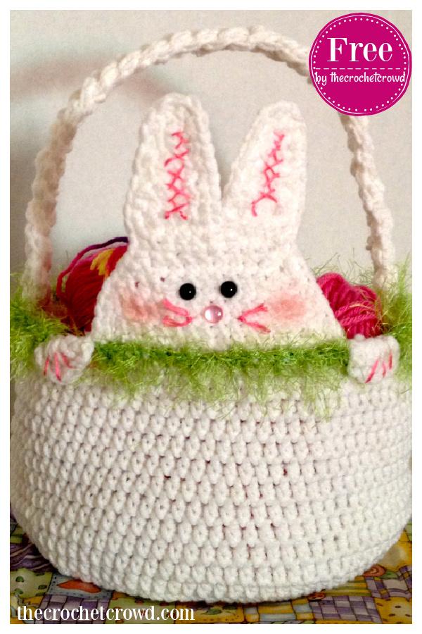 Peek A Boo Rabbit Easter Basket Free Crochet Pattern