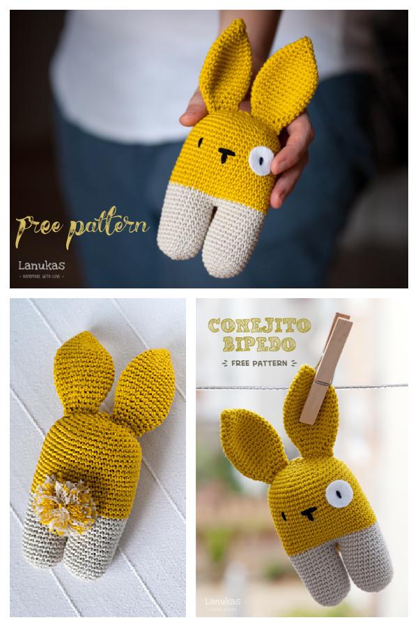 Rattle bunny two-legged Free Crochet Pattern