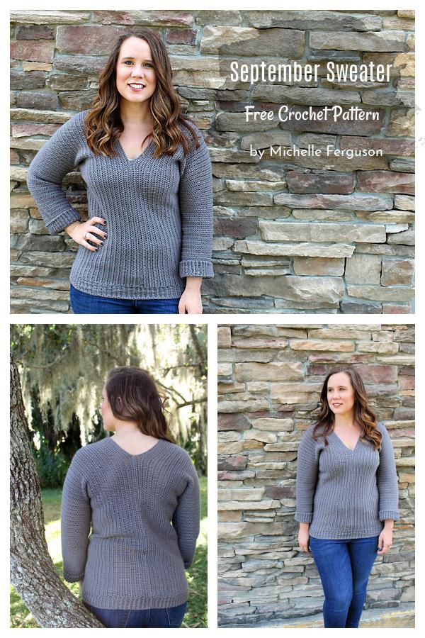 September V-Neck Sweater Free Crochet Pattern